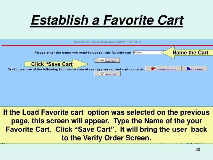 Establish a Favorite Cart