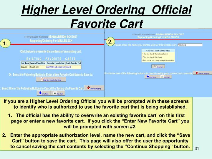 Higher Level Ordering  Official Favorite Cart