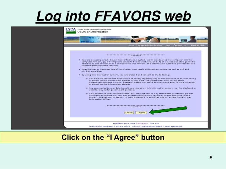 Log into FFAVORS web