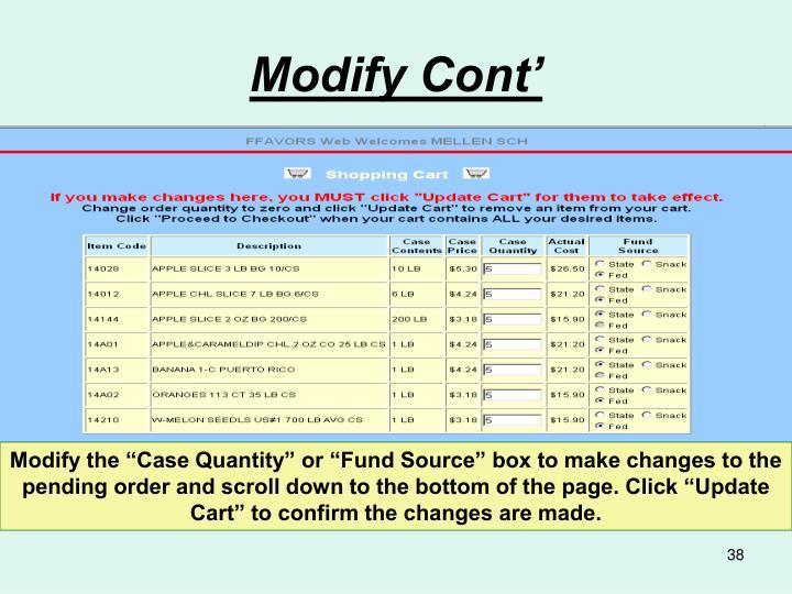 Modify Cont'
