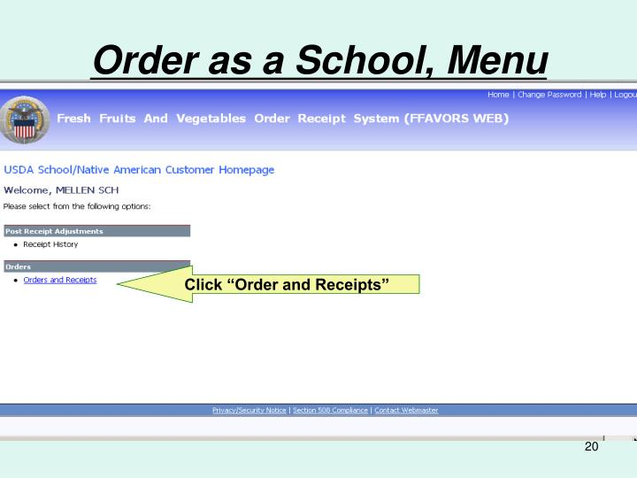 Order as a School, Menu