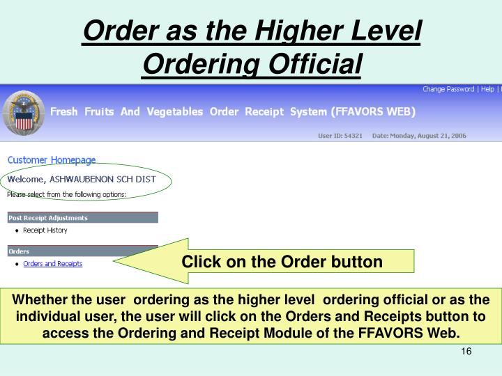 Order as the Higher Level Ordering Official