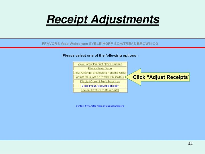 Receipt Adjustments
