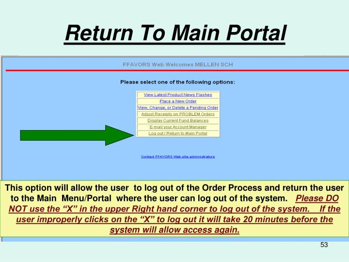 Return To Main Portal