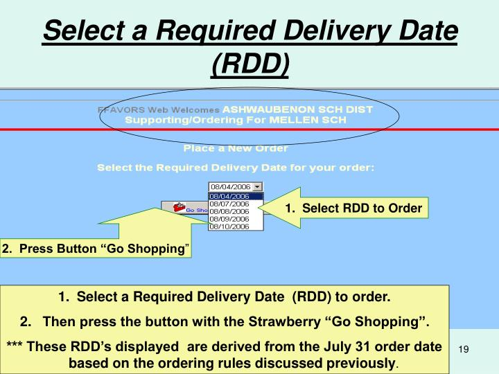 Select a Required Delivery Date (RDD)