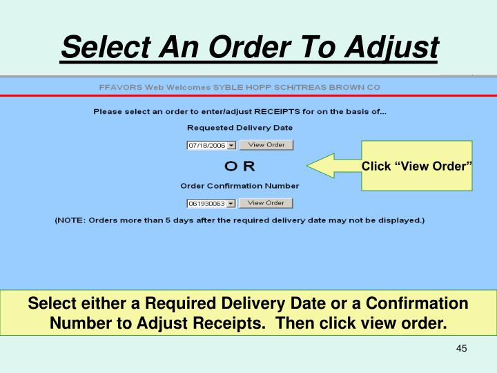 Select An Order To Adjust