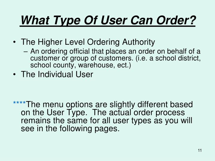 What Type Of User Can Order?