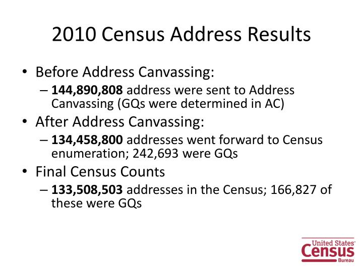 2010 Census Address Results