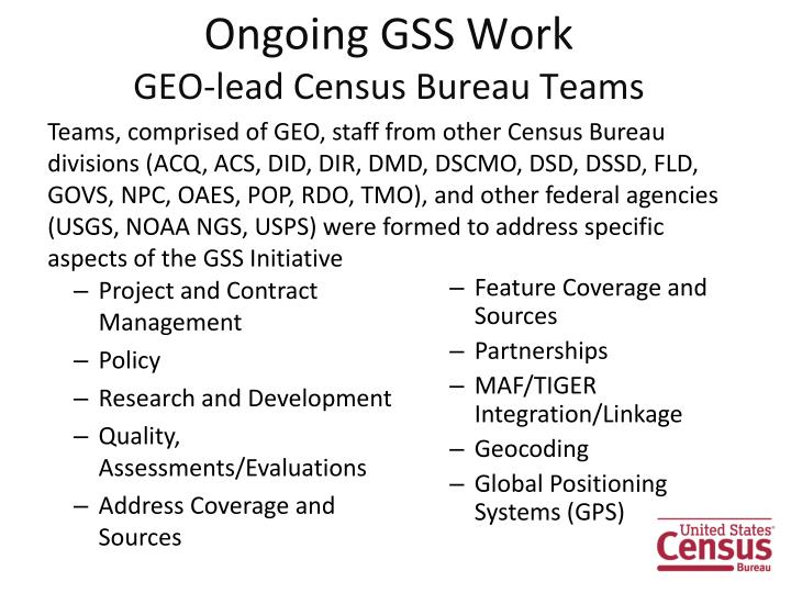 Ongoing GSS Work