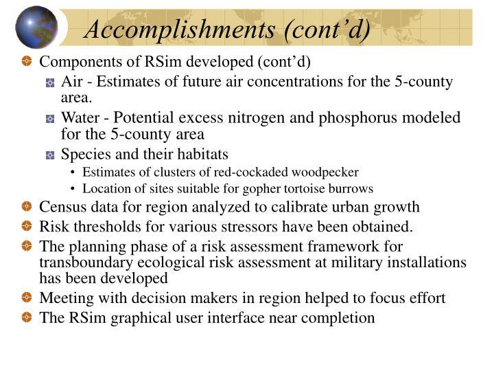 Accomplishments (cont'd)