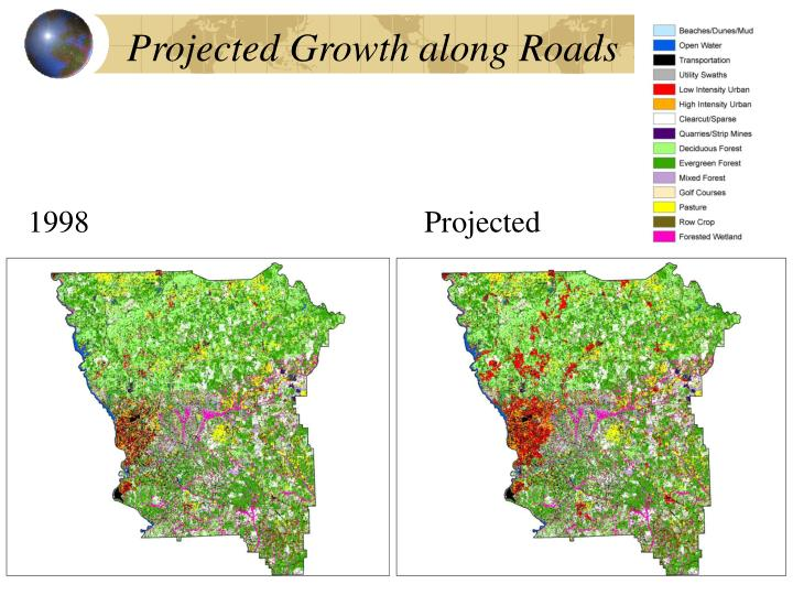 Projected Growth along Roads
