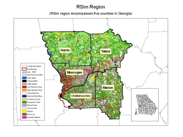 The initial implementation of RSim is for the 5 county region surrounding Fort Benning, GA