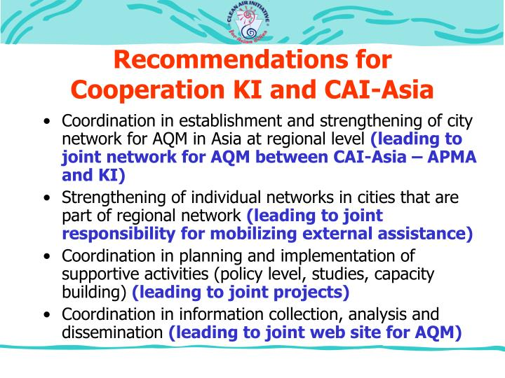 Recommendations for Cooperation KI and CAI-Asia