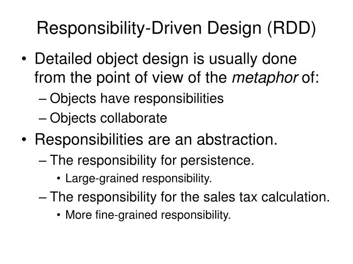 Responsibility driven design rdd