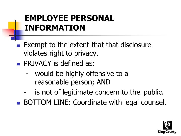 EMPLOYEE PERSONAL INFORMATION