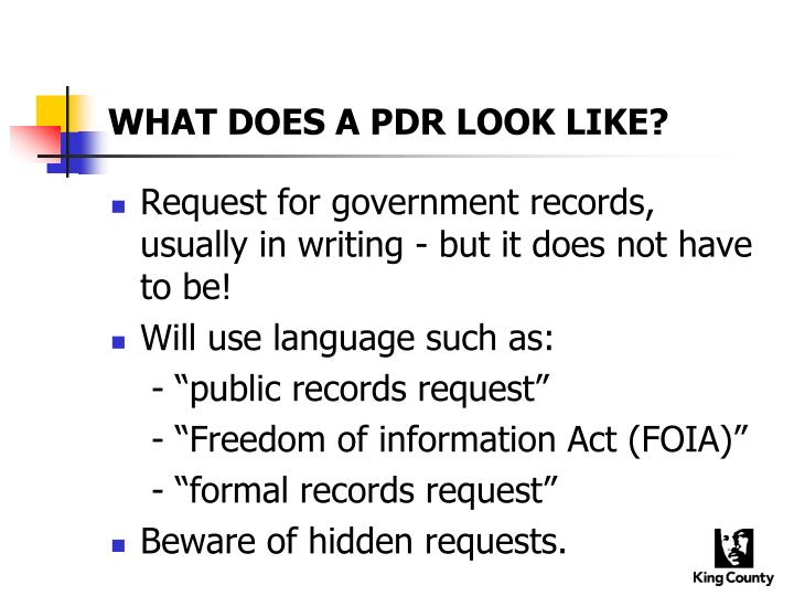 What does a pdr look like