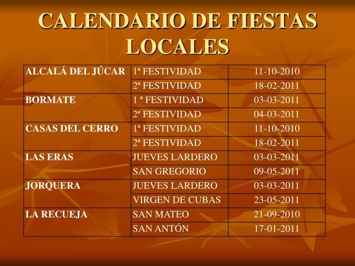 CALENDARIO DE FIESTAS LOCALES
