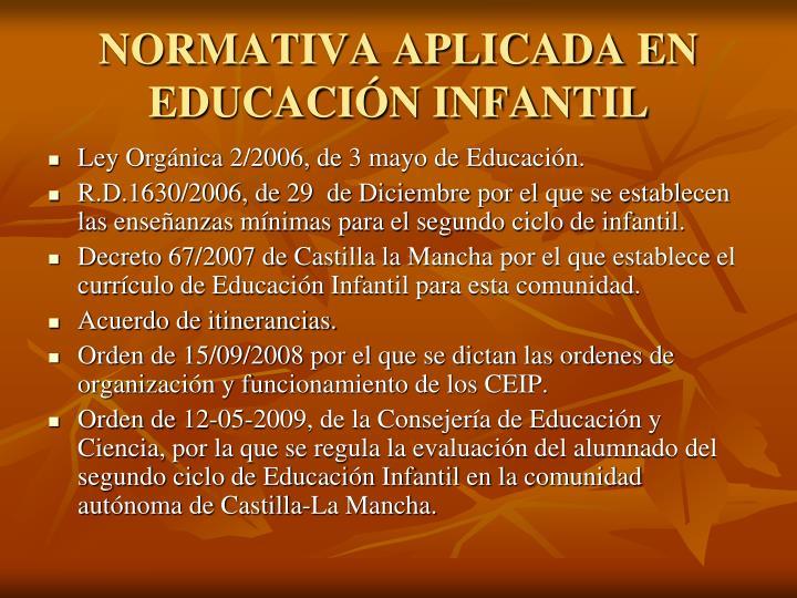 NORMATIVA APLICADA EN EDUCACIÓN INFANTIL