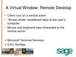 a virtual window remote desktop