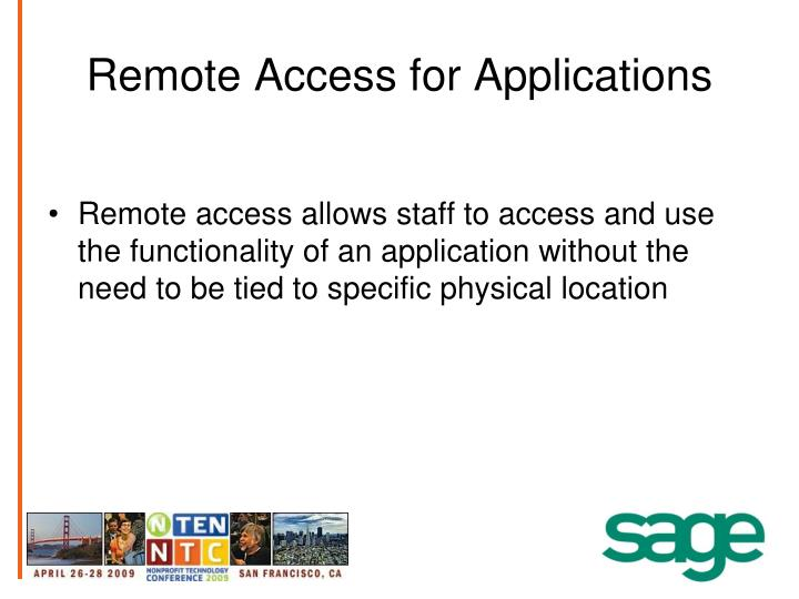 Remote Access for Applications