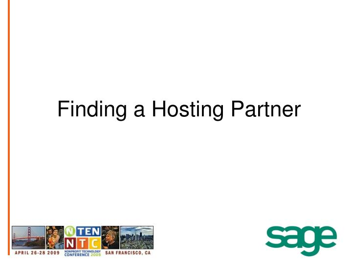 Finding a Hosting Partner