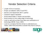 vendor selection criteria