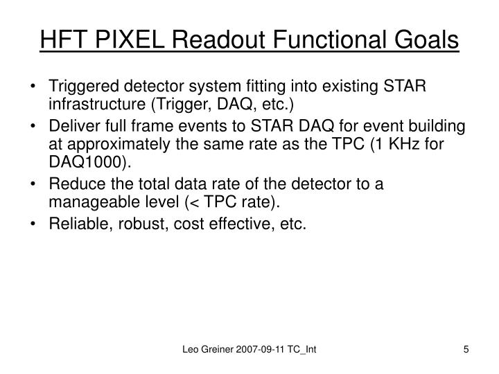HFT PIXEL Readout Functional Goals