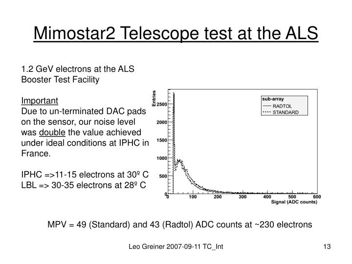 Mimostar2 Telescope test at the ALS