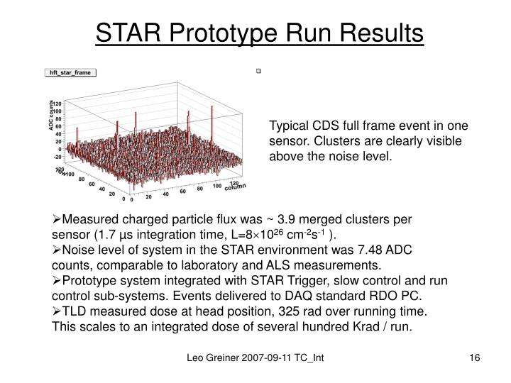 STAR Prototype Run Results