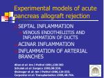 experimental models of acute pancreas allograft rejection