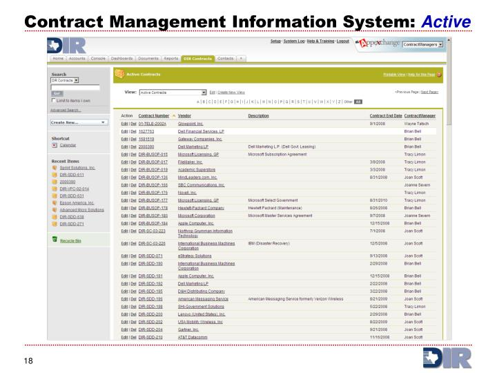 Contract Management Information System: