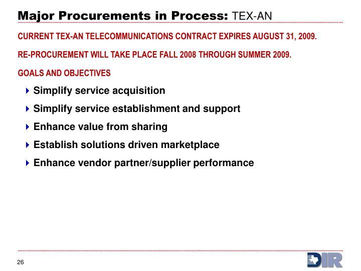 Major Procurements in Process: