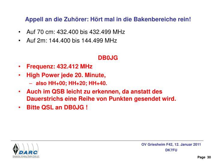 Auf 70 cm: 432.400 bis 432.499 MHz