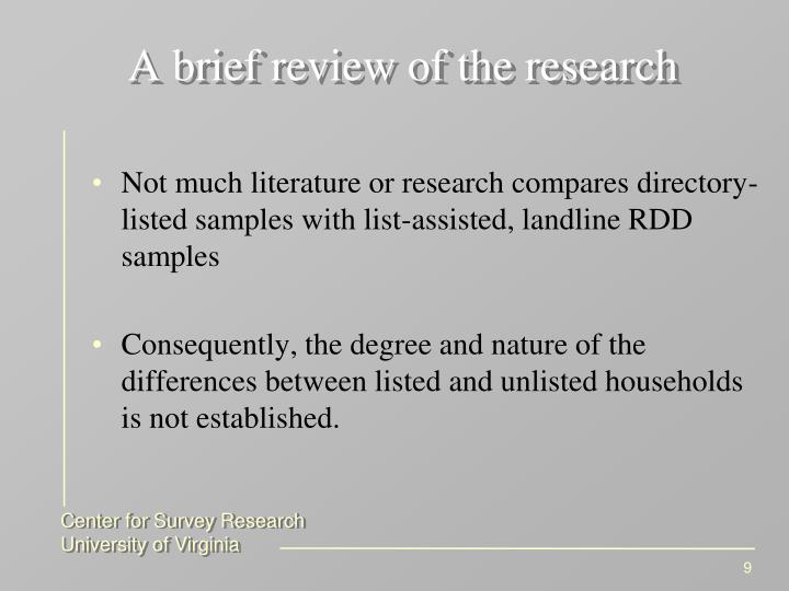 A brief review of the research