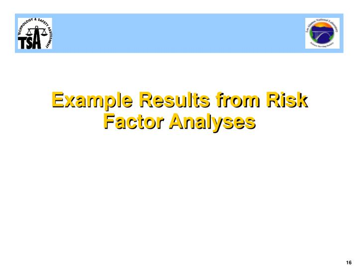 Example Results from Risk Factor Analyses
