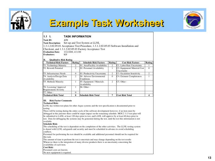 Example Task Worksheet