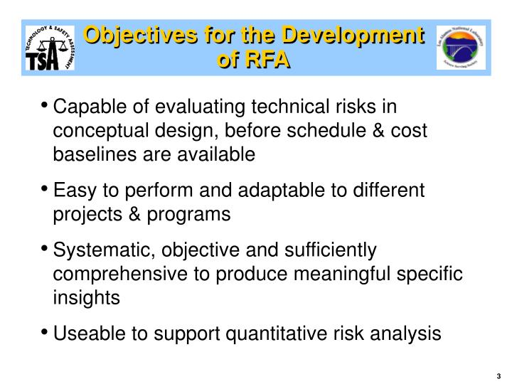 Objectives for the Development of RFA