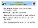 tasks for risk factor analysis