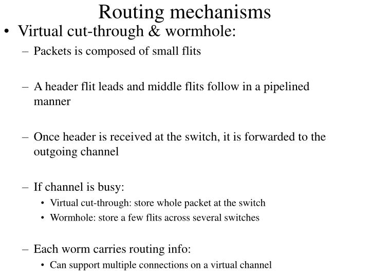 Routing mechanisms