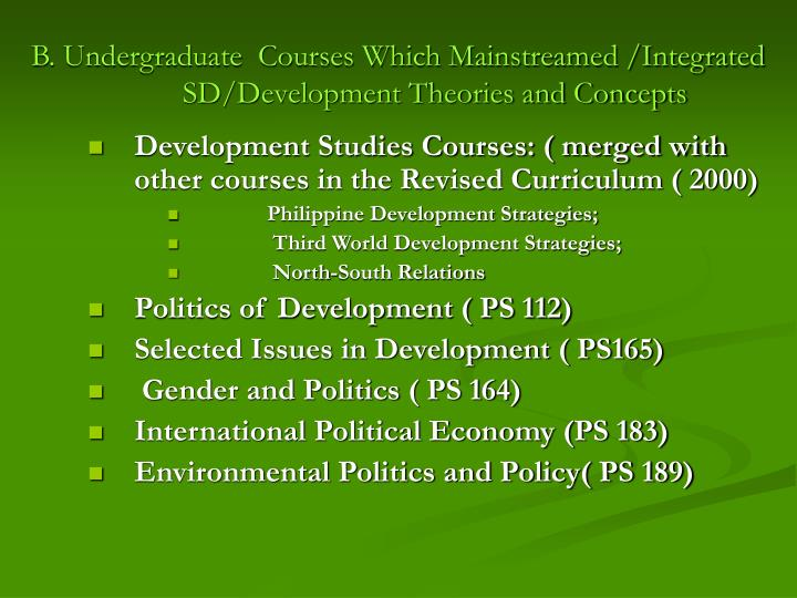 B. Undergraduate  Courses Which Mainstreamed /Integrated SD/Development Theories and Concepts