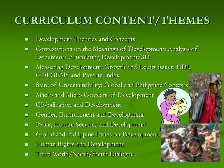 CURRICULUM CONTENT/THEMES