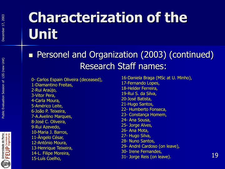 Characterization of the Unit