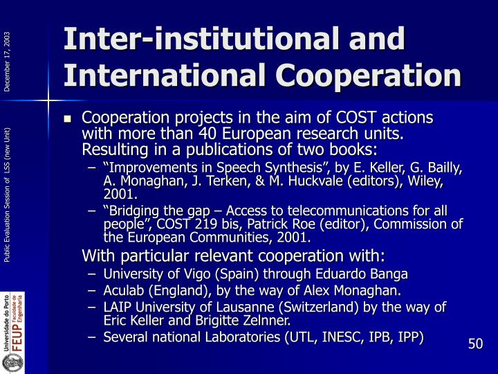Inter-institutional and International Cooperation