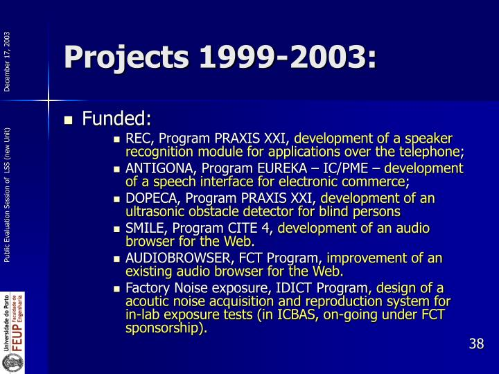 Projects 1999-2003: