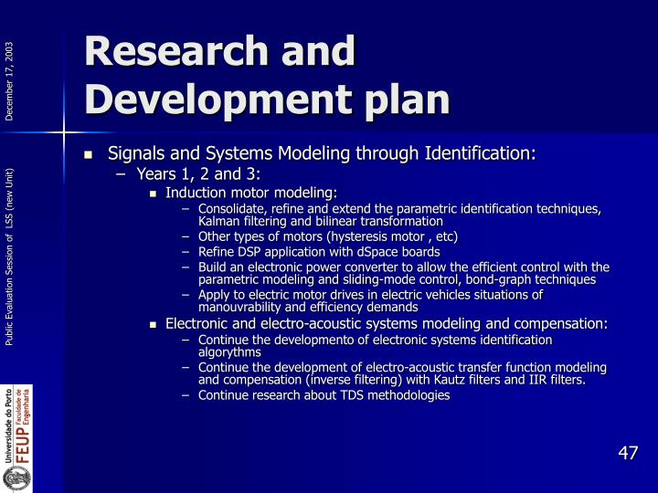Research and Development plan
