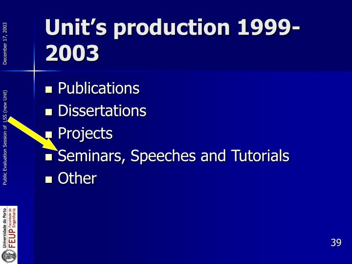 Unit's production 1999-2003