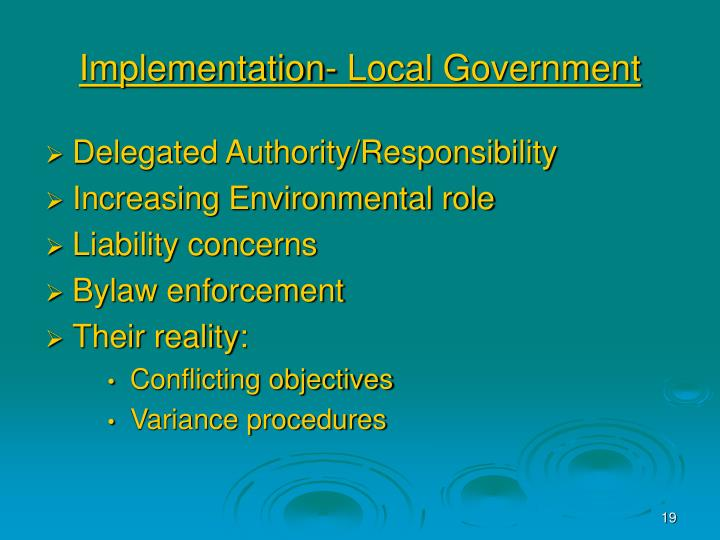 Implementation- Local Government