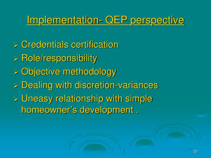 Implementation- QEP perspective