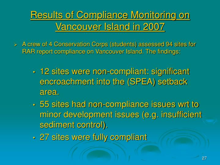 Results of Compliance Monitoring on Vancouver Island in 2007