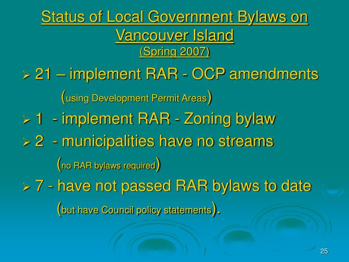 Status of Local Government Bylaws on Vancouver Island